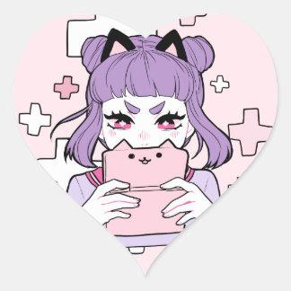 Etiqueta de Grrl do Gamer Adesivo Coração