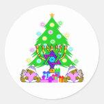 Etiqueta de Hanukkah e de Natal Adesivo Redondo
