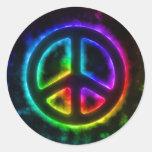 Etiqueta de incandescência do sinal de paz do adesivo em formato redondo