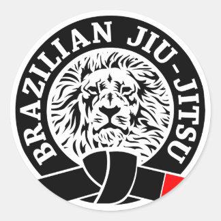 Etiqueta de Jiu-Jitsu do brasileiro redonda