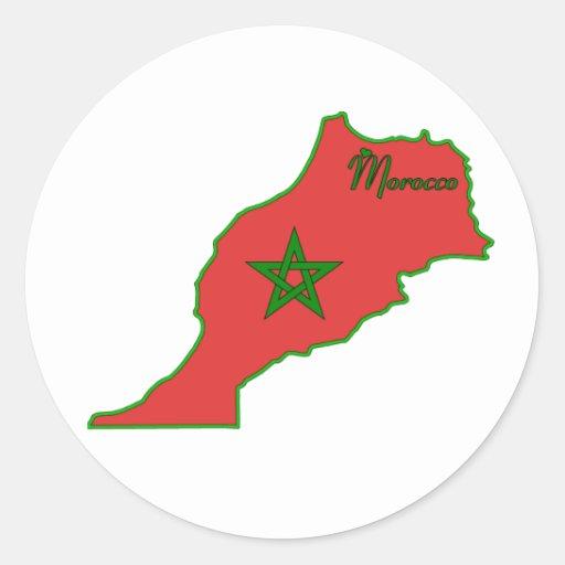 Etiqueta de Marrocos Adesivos Redondos