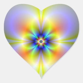 Etiqueta de néon do coração da flor
