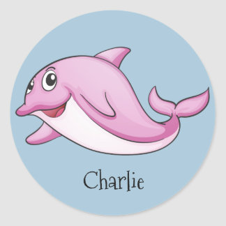 Etiqueta de nome bonito do costume dos golfinhos