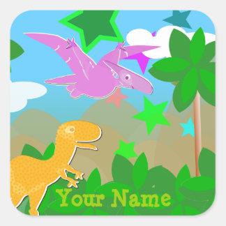 Etiqueta de nome bonito dos dinossauros dos adesivo quadrado