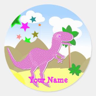Etiqueta de nome cor-de-rosa do dinossauro de adesivo