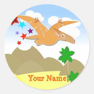Etiqueta de nome de Pteranodon do dinossauro Adesivo