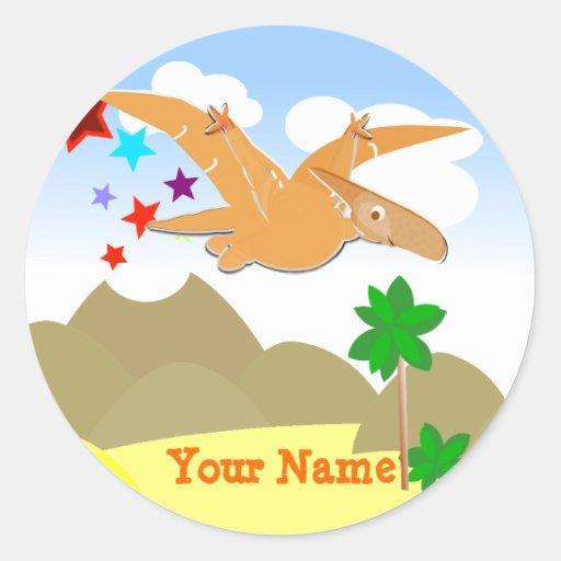 Etiqueta de nome de Pteranodon do dinossauro Adesivos Em Formato Redondos
