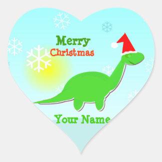 Etiqueta de nome do coração do dinossauro verde do adesivo coração