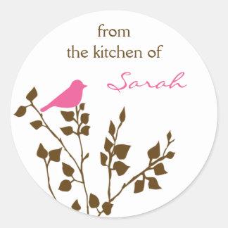 Etiqueta de nome do costume do pássaro adesivo em formato redondo