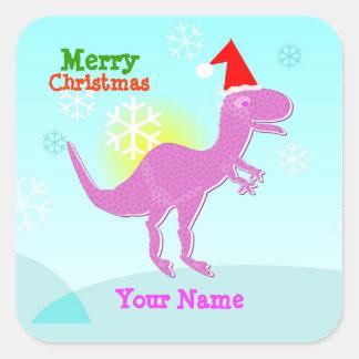 Etiqueta de nome do dinossauro de T-Rex do Feliz N Adesivos Quadrados