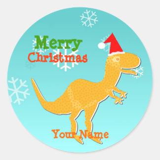 Etiqueta de nome do dinossauro dos desenhos adesivos redondos