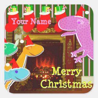 Etiqueta de nome dos dinossauros do Natal Adesivo Quadrado