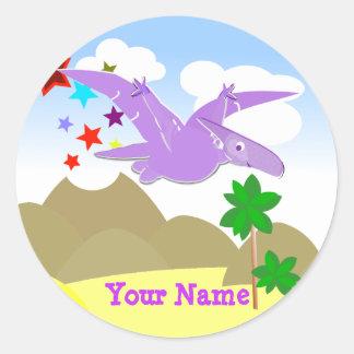Etiqueta de nome roxa de Pteranodon do dinossauro Adesivos Redondos
