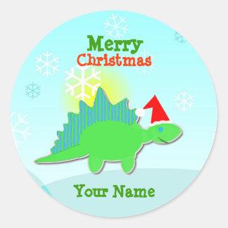 Etiqueta de nome verde do dinossauro do Natal Adesivo