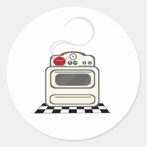 Etiqueta de pote vermelha do fogão retro adesivos redondos