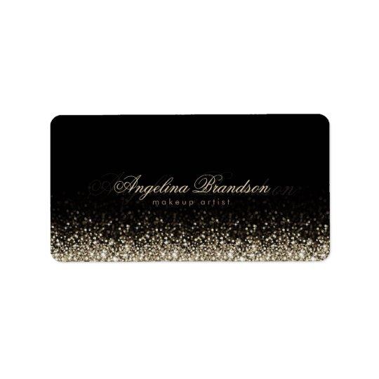 Etiqueta de prata cintilante do maquilhador da