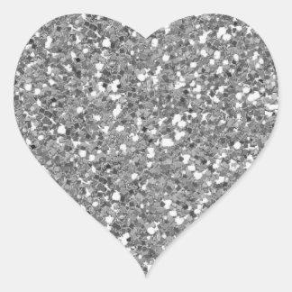 Etiqueta de prata do coração do brilho (falso)