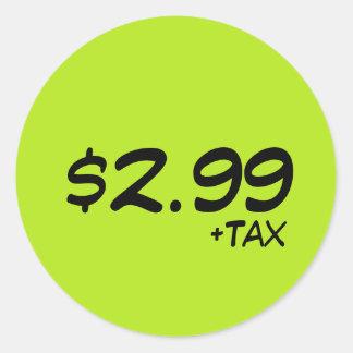 Etiqueta de preço com imposto adesivo