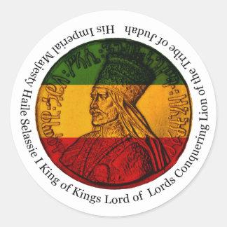 Etiqueta de Rasta que conquista o leão de Judah
