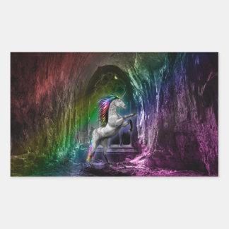 Etiqueta de Rentagular do unicórnio do arco-íris