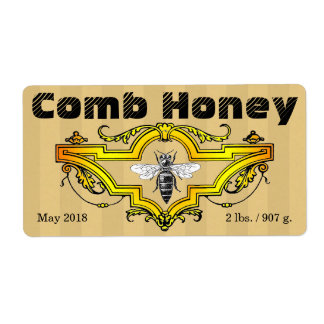 Etiqueta de Strpes do mel de pente