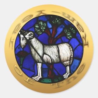 Etiqueta de Windows do vitral do ano dos carneiros Adesivo