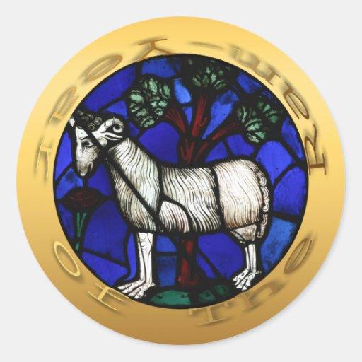 Etiqueta de Windows do vitral do ano dos carneiros Adesivos Redondos