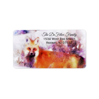 Etiqueta Descanso do Fox vermelho da aguarela