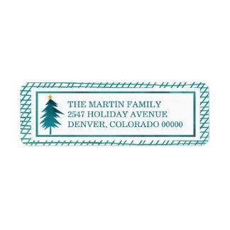 Etiqueta Desejos do Natal em o feriado verde-oliva manchado