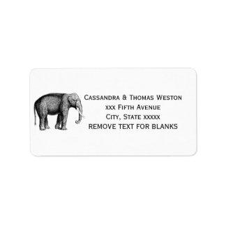 Etiqueta Desenho do elefante do vintage