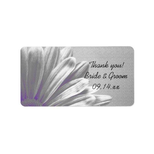Etiqueta Destaques florais roxos que Wedding o obrigado que