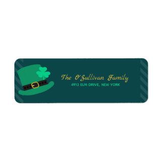 Etiqueta Dia de São Patrício do chapéu do Leprechaun verde