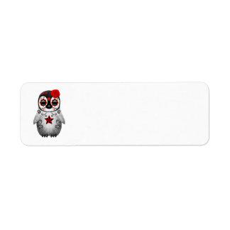 Etiqueta Dia vermelho do pinguim inoperante do bebê