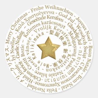 Etiqueta diferente das línguas do Feliz Natal Adesivo