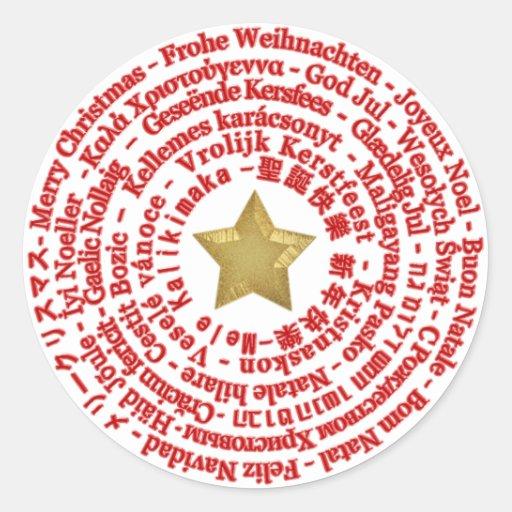 Etiqueta diferente das línguas do Feliz Natal Adesivos Em Formato Redondos