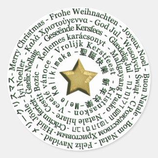 Etiqueta diferente das línguas do Feliz Natal Adesivo Em Formato Redondo