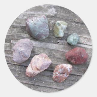 Etiqueta diferente do círculo das rochas adesivo