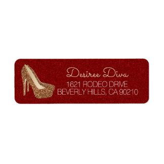 Etiqueta Diva vermelha Glam do brilho do ouro dos calçados