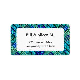 Etiqueta Do abstrato verde do azul de Boho teste padrão