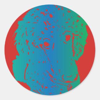 Etiqueta do amor da caniche redonda adesivo