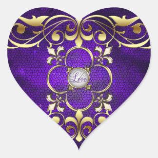 Etiqueta do amor do vitral de Purple Heart do Adesivo Em Forma De Coração