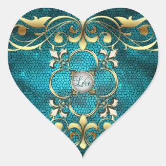 Etiqueta do amor do vitral do coração da cerceta adesivos de corações