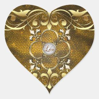 Etiqueta do amor do vitral do coração do ouro do adesivo coração