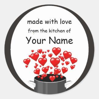 Etiqueta do amor do wIith do cozinhar Adesivos Redondos