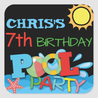 Etiqueta do aniversário da festa na piscina adesivo quadrado