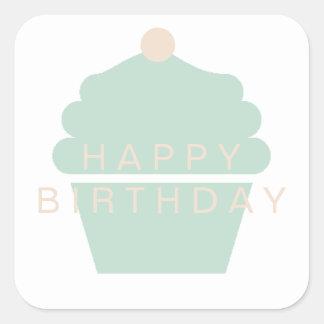 Etiqueta do aniversário do cupcake adesivo quadrado