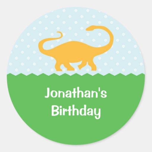 Etiqueta do aniversário do dinossauro adesivo em formato redondo
