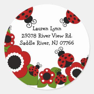 Etiqueta do aniversário do endereço do remetente d adesivo redondo