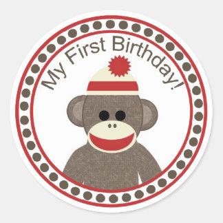 Etiqueta do aniversário do macaco da peúga