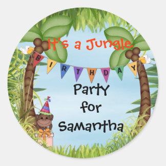 Etiqueta do aniversário do macaco do safari de sel adesivos redondos